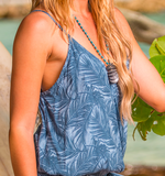 Blue Demin Tencel Tank with Palm Frond Print Surf Gypsy