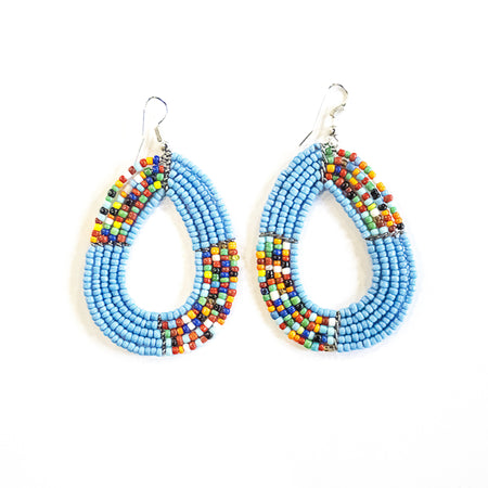 Maasai Half Hoop Earrings - White