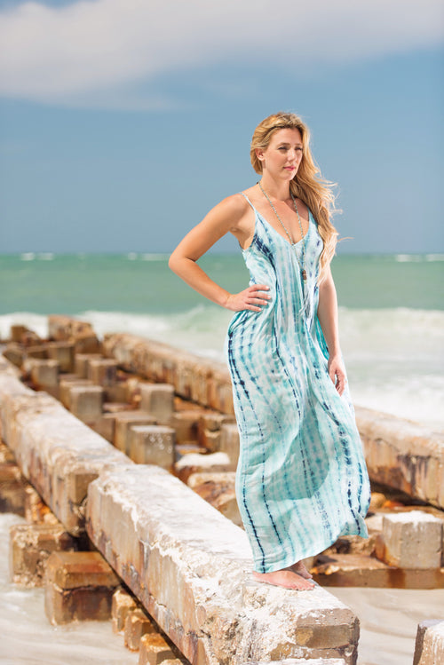 Spaghetti Strap, Tie Dye, V-Neck Maxi Dress with Gathered Cocoon Fit & Pockets