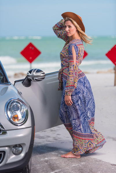 Ark & Co Long Sleeve Bohemian Navy Maxi Dress Print