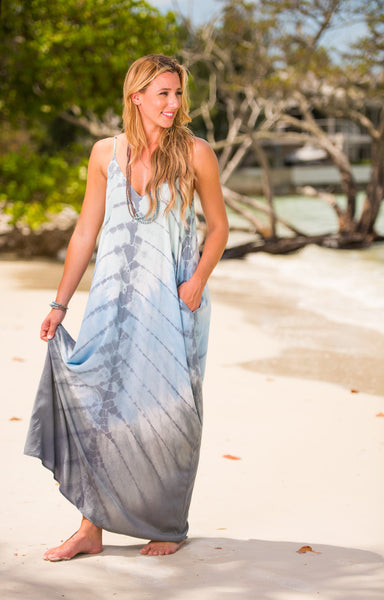Stunning Blue Toned Tie Dye V-Neck Maxi with Pockets
