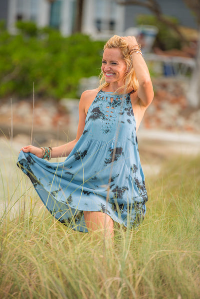Honey Punch Blue Tie Dye Cutout Dress 2