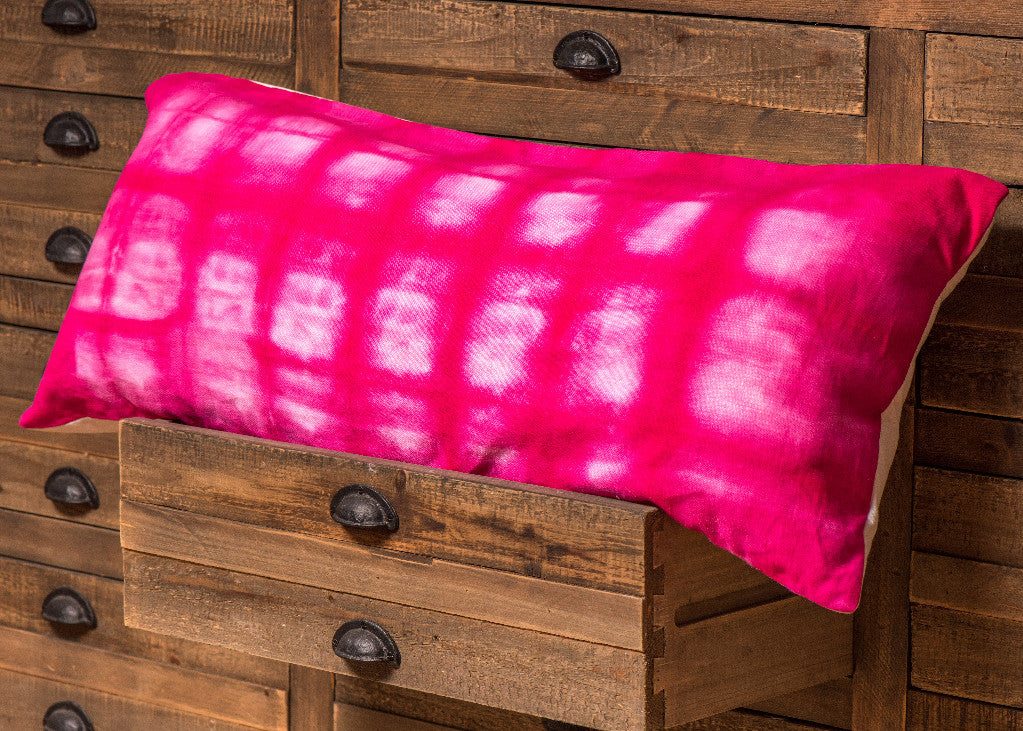 Pink Fuschia Shibori Pillow Tie Dyed Hand Made