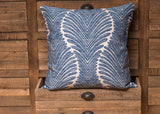 palm tree frond blue pillow