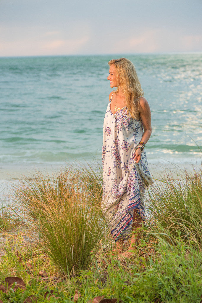 Spaghetti Strap V-Neck Aztec Cocoon Maxi Dress with Pockets