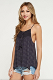Double Tassel Lace Front Eyelet Racer Back Tank Top
