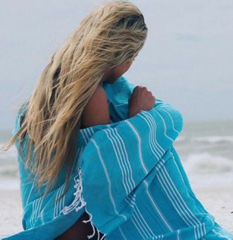 Sand Cloud Aqua Beach Towel Bohemian Boho Striped