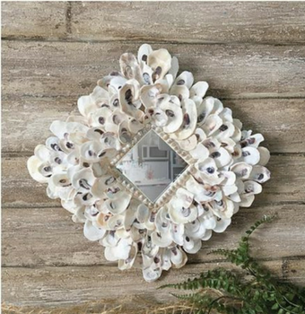 Oyster Shell Mirror Nautical Beach Decor Coastal Home Decor Beach House
