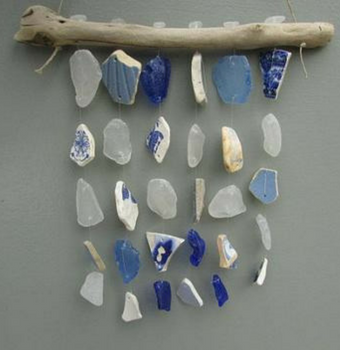 Blue Ceramic BEACH GLASS Mobile DRIFTWOOD Mobile Sea Glass Mobile Cottage Decor