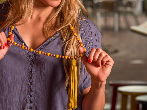 Mustard Bohemian Beaded Necklace with Tassel