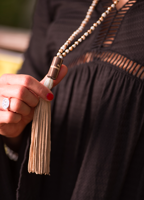 Beachy Bohemian Beaded Necklace with Leather Tassel and Dark Brown Bead