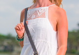 white crochet bib bohemian dress cinched waist