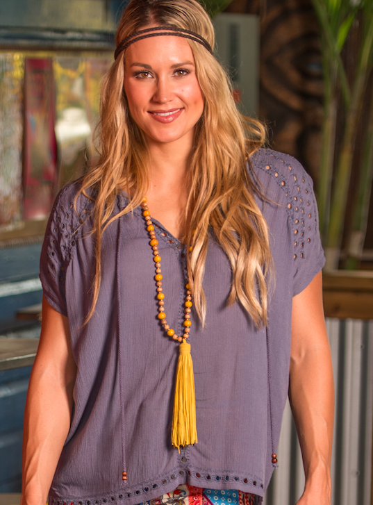Gray Bohemian V-neck embroidered placement eyelet top