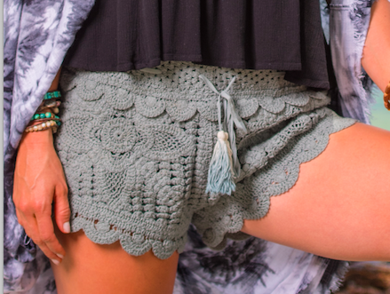 Surf Gypsy Olive Sage Green Crochet Shorts with Dip Dye Tassels