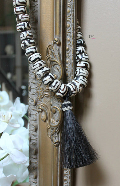 Traditional Batik Bone Beads With Black Horsehair Tassel