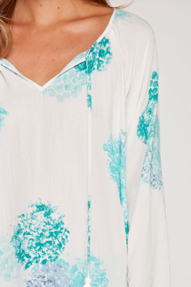 Watercolor Bohemian White Blouse with Tassels