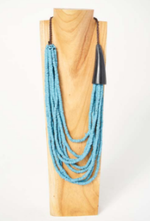beaded statement necklace turquoise