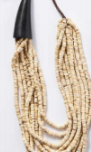 beaded statement necklace beige sand