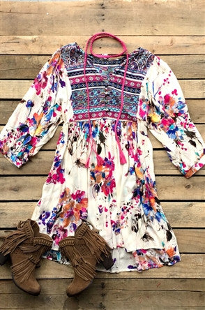 bohemian Bell Sleeve Printed Blouse with Split Mock Neck and Tie Details
