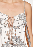 bohemian printed tank top with smocking bust detail and multi tassel ties