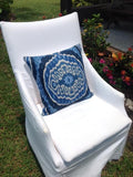 blue tribal ikat pillow