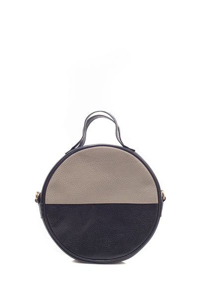 retro round cross body bag gray and black removable strap