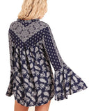 Navy Bell Sleeve Printed Blouse Split Mock Neck and Tie Tops Bohemian Umgee