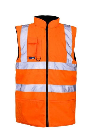 HI VIS BODYWARMER REVERSIBLE LINED ORANGE