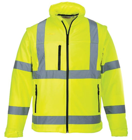 HI VIS SOFTSHELL JACKET (DETACHABLE SLEEVES) PORTWEST YELLOW