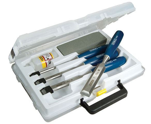 STANLEY 4 PIECE BEVEL EDGE CHISEL SET WITH STONE AND OIL