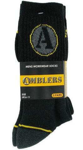CONTRAST RIBBED WORKWEAR SOCKS AMBLERS (PACK OF 3)