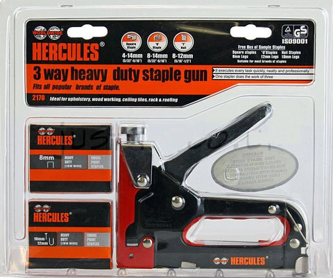 Hercules 3 Way Heavy Duty Staple Gun Set with Staples