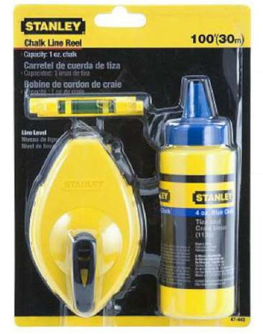 Stanley Chalk Line 30m Blue Chalk and Level