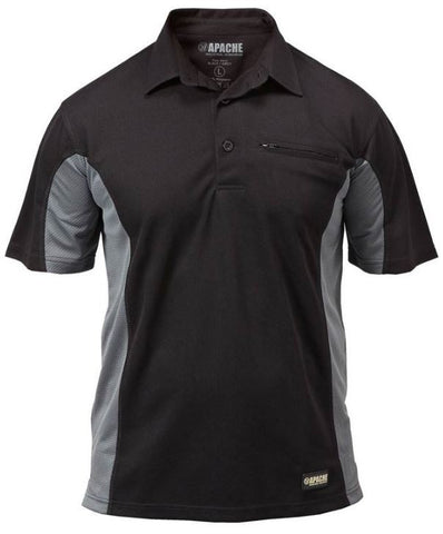 POLO SHIRT DRY MAX APACHE BLACK/GREY