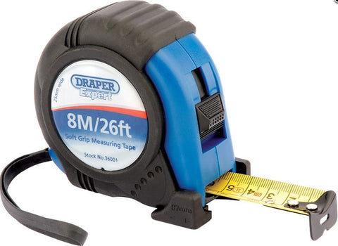 DRAPER 8M/26FT SOFT GRIP HEAVY DUTY TRADE MEASURING TAPE
