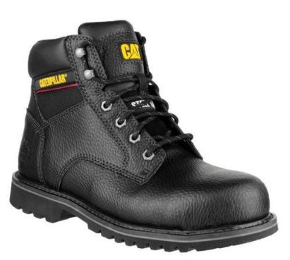 CATERPILLAR SAFETY BOOTS DISTRESSED LEATHER BLACK