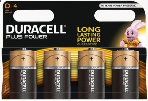 DURACELL BATTERY PLUS POWER D 4PK
