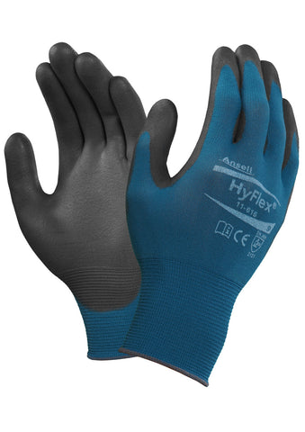 WORK GLOVES ANSELL HYFLEX PU PALM COASTED TURQ/BLACK