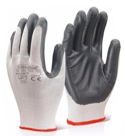 NITRILE PALM COATED POLYESTER GLOVES WHITE/GREY (PK 10 PAIRS)