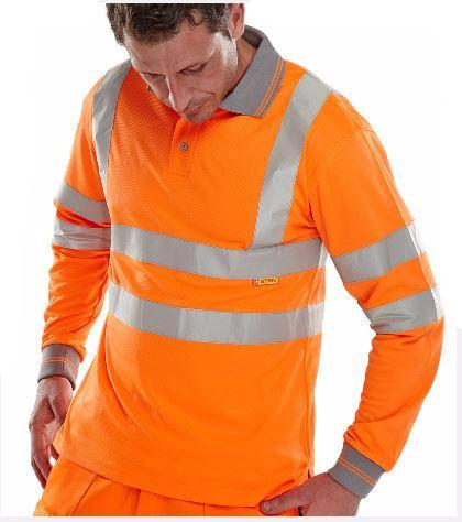 HIGH VISIBILITY POLO SHIRT LONG SLEEVED ORANGE