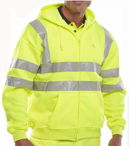 HI VIS HOODED ZIPPER SWEATSHIRT - YELLOW