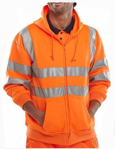 HI VIS HOODED ZIPPER SWEATSHIRT-ORANGE