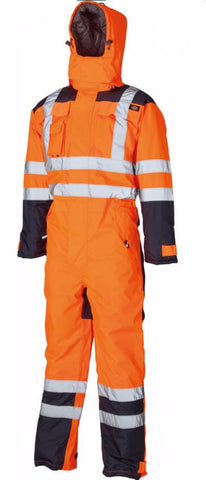 DICKIES HI VIS WATERPROOF PADDED COVERALL - ORANGE