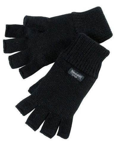 THINSULATE FINGERLESS GLOVE BLACK