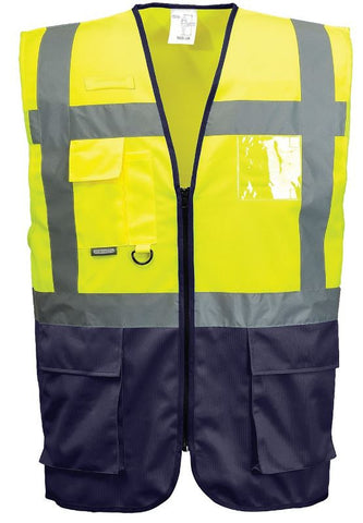 HI VIS EXECUTIVE VEST YELLOW/NAVY - PORTWEST