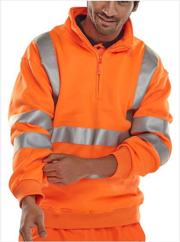 HI VIS QUARTER ZIPPED SWEATSHIRT - ORANGE
