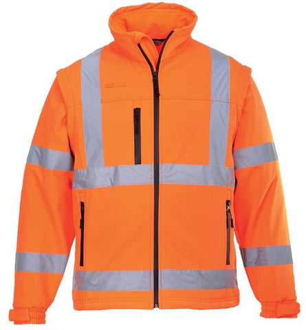 HI VIS SOFTSHELL JACKET (DETACHABLE SLEEVES) PORTWEST ORANGE