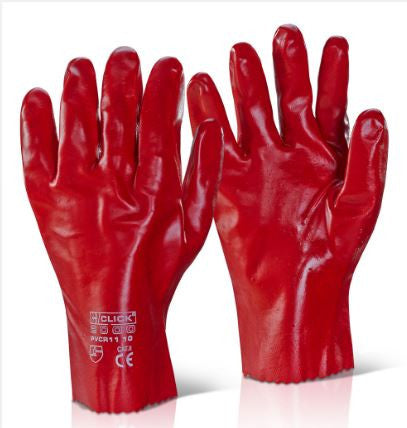 PVC GAUNTLET OPEN CUFF 11 INCH RED (PK 10 PAIRS)