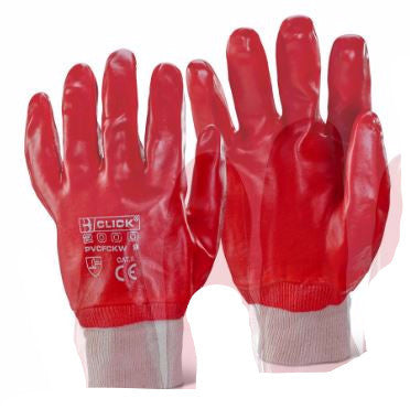 PVC GLOVE FULLY COATED KNIT WRIST RED (PK 10 PAIRS)