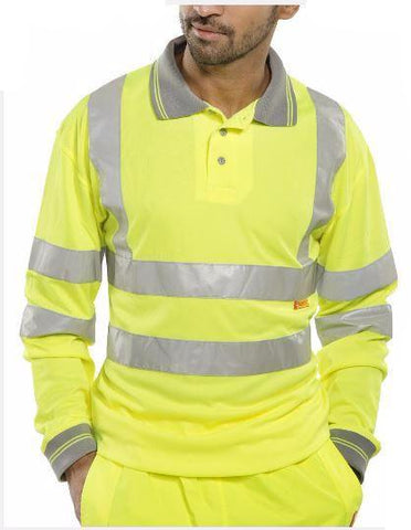 HIGH VISIBILITY POLO SHIRT LONG SLEEVED YELLOW